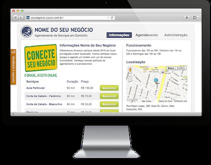 Tela de informações, página inicial do prestador de serviços no Cucco
