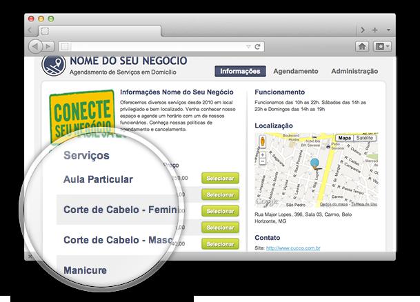 Tela de informações e listagem de serviços do Cucco